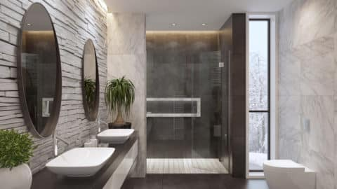 Clean and luxurious bathroom, bathroom upgrades for safety concept