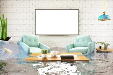 Flood damage in a house, prevent flood damage concept