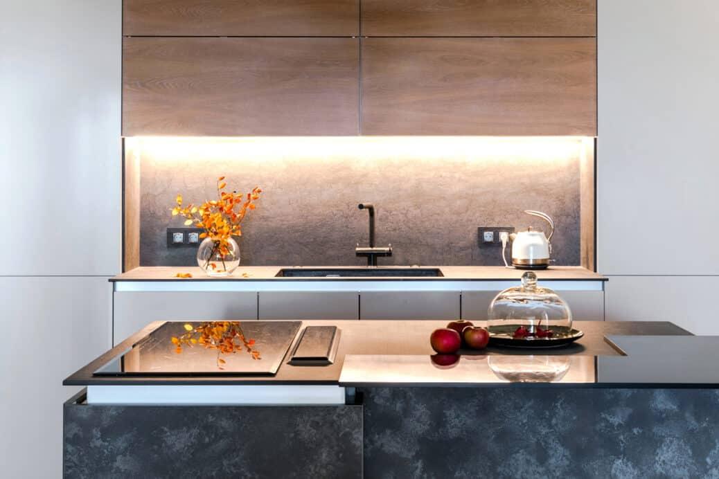 Minimalist kitchen with new appliances, home improvements concept