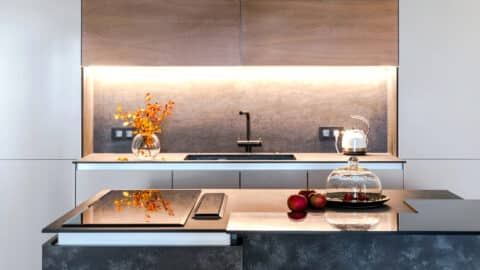 Minimalist kitchen with new appliances, home improvements concept